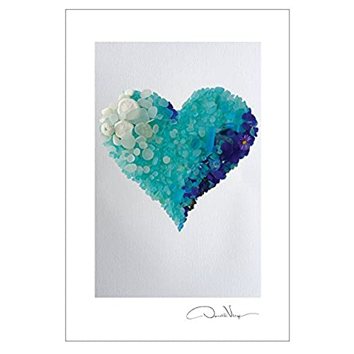cheap aqua sea glass heart postcard prints 10 pack 4x6 best