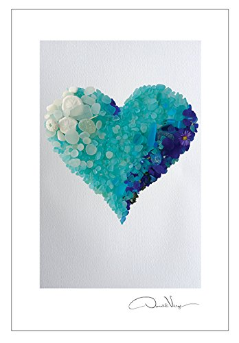 Aqua Sea Glass Heart Postcard Prints. 10 Pack, 4x6. Best Quality Gifts, Birthday Cards, Thank You Notes & Invitations. Unique Christmas and Valentines Day Gifts for Women, Men and Kids of All Ages
