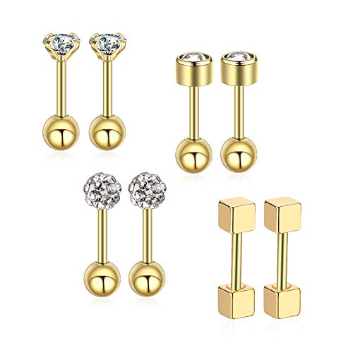 Gnoliew 18G Stainless Steel Stud Earrings Cartilage Tragus Helix Barbell Piercing Jewelry(Gold)