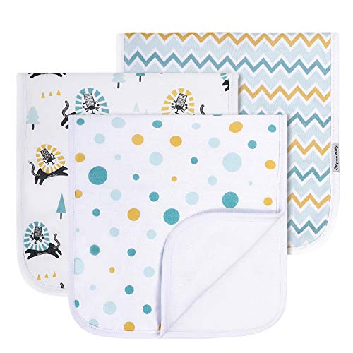 "Baby Burp Cloths Large Size 21""x10"", Triple Layer Spit Up Clothes for Babies Extra Absorbent Cotton Baby Burping Towels 3 Pack Burping Rag Set for Newborns by GLLQUEN BABY (Lion)"
