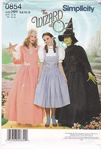 Misses' Wizard of Oz Costumes Patterns Dorothy Glenda Witch Simplicity Costume Sewing Pattern 0854 Size 6 8 10 12 -