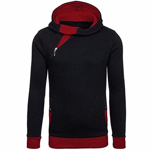 Fastbot Mens Linen Shirts Long Sleeve Loose Autumn Winter Zipper Hooded Sweatshirt Tops Blouse Red (Item Code Plate Fur)