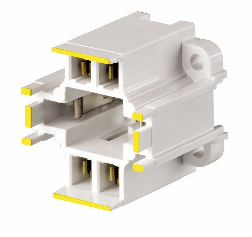 Leviton 26725-414 GX24q-4 Base, 42W 4-Pin, 10mm Compact Fluorescent Lampholder, Vertical, Bottom Screw-Down, Yellow Color Code, Quick-Connect 18AWG, - Pins Leviton