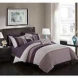 Plum and Grey Comforter Sets Chic Home 10 Piece Ayelet Comforter Set, Queen, Plum