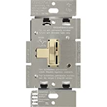 Lutron Toggler Dimmer Switch for Halogen and Incandescent Bulbs, with Locator Light, Single-Pole or 3-Way, AY-603PNL-IV, Ivory