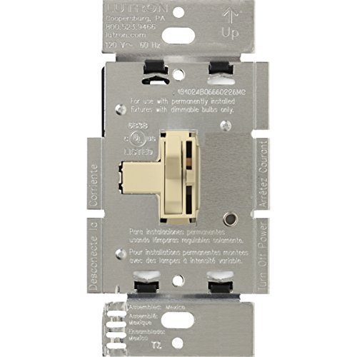 Lutron Toggler 1000-Watt Dimmer Switch for Halogen and Incandescent Bulbs, with Locator Light, Single-Pole, AY-10PNL-IV, Ivory