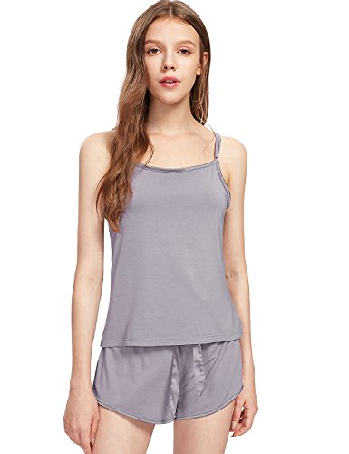 GYS Womens Pajama Cami Short Set (Grey,Small) Bra Womens Loungewear