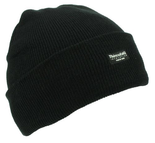 - Mens Adult Winter Thermal Thinsulate Knitted Black Beanie Hat One Size