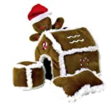 Outward Hound Kyjen  PP01797 Gingerbread House Dog Toys Plush Interactive Puzzle Squeaking Toy For Dogs, Large, Brown