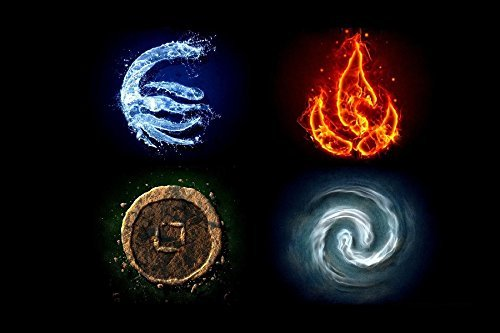 Water Fire Earth Avatar The Last Airbender Air Symbols The Elements Tv Movie Film Poster Fabric Silk Poster Print B0129-34