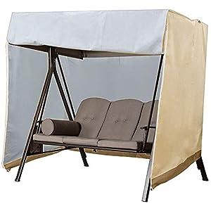 Funda para columpio de jardín, impermeable, resistente al viento, anti-UV, para exterior, para silla de columpio, tela Oxford, funda protectora para hamaca de patio grande (160x120x170cm,Beige)