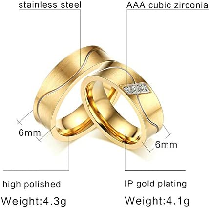 Friendship rings partner rings engagement rings wedding rings  in stainless steel women/'s ring with zirconia stone incl engraving
