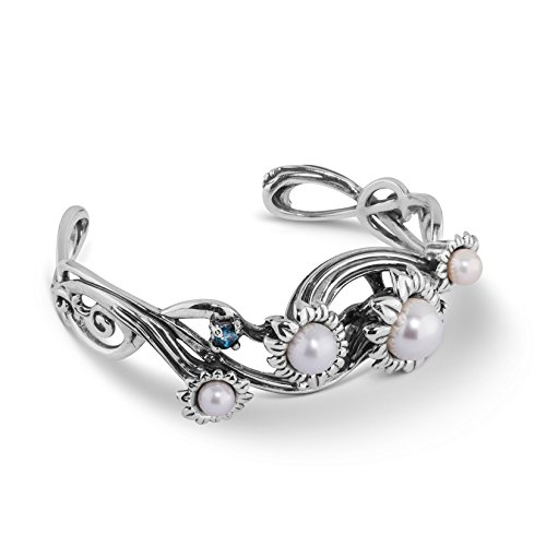 Carolyn Pollack Sterling Silver Pearl and London Blue Topaz Gemstone Flower Cuff Bracelet Size Medium