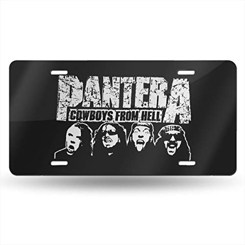 Bayarsea License Plate Pantera Cowboys from Hell 3D Funny Auto Car Tag Metal Cover ()