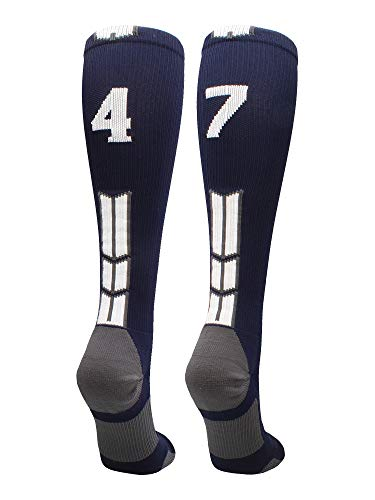 MadSportsStuff Navy/White Player Id Over The Calf Number Socks (#47, Small)