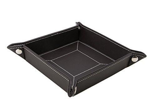 Decorebay Easy Pocket Dump Foldable Travel Leather Valet Tray (Coffee) by decore Bay