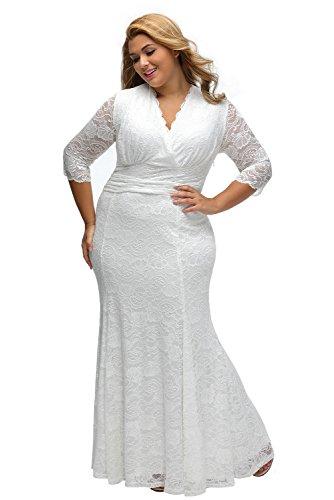 ILFtrend Spitze Elegante Halbarm Kleid Große Größen Partykleider ...