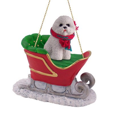 Bichon Frise Dog in Sleigh Christmas Ornament New - Amazon.com: Bichon Frise Dog In Sleigh Christmas Ornament New: Pet