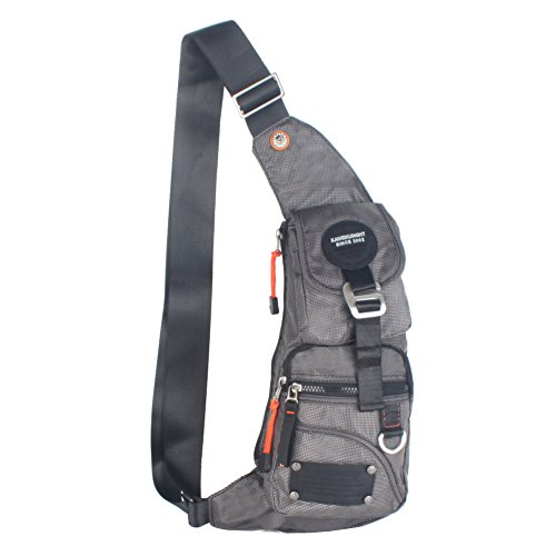 Kawei Knight Nylon Sling Bag Messenger Backpack Fanny Pack (L- Gray ) (Pack Performance Sling)