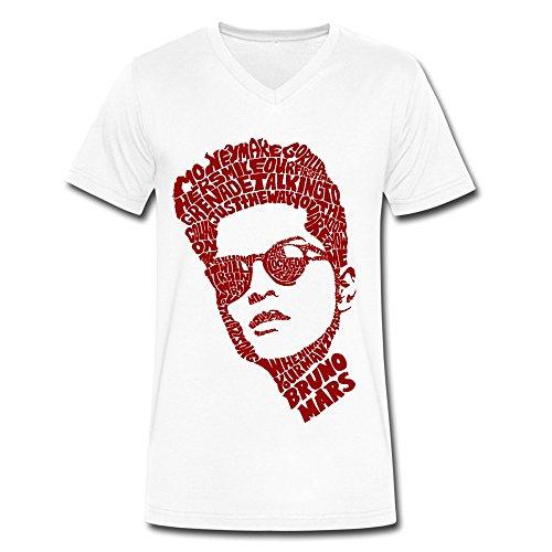 Gentleman Bruno Mars V-Neck 100% Cotton Tee Shirts M White (Robin Custome)