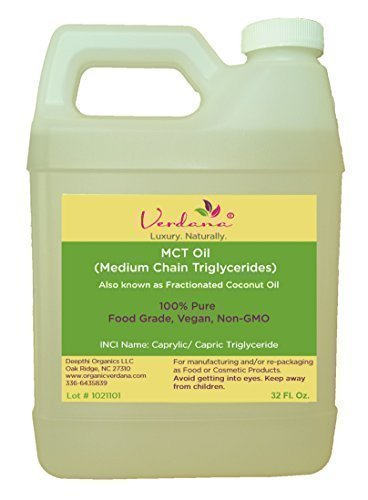 Organic Verdana Food Grade MCT Oil - 32 Fl Oz. (1 Quart) - Fractionated Coconut Oil - 100% Pure, True Medium Chain Triglycerides, without Long Chain for Easy Absorption - Aromatherapy Carrier Oil