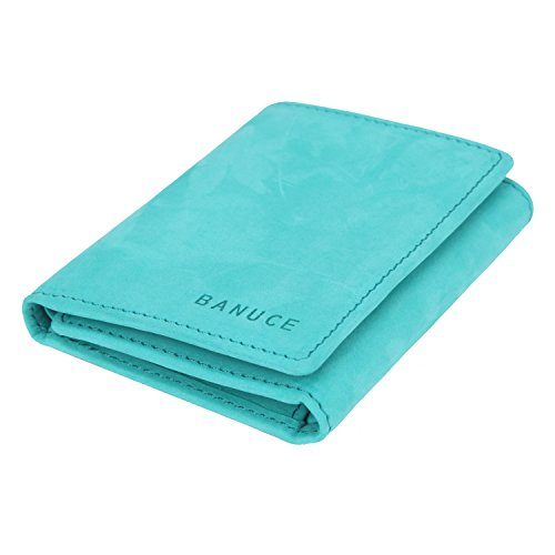 Banuce Women's Full Grains Genuine Leather Suede Surface Slim Small Item Trifold Wallet Color Turquoise - Leather Tri Fold Handbag