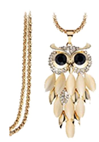 [Mr Rabbit High Fashion Retro Yellow Cat Eye Owl Necklace] (Austin Tx Halloween Costumes)