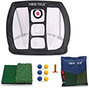 HOW TRUE Pop Up Golf Chipping Net Dual Turf Hitting Mat with 3 Rubber Tees Combo, 3-Target Hole Practice Train