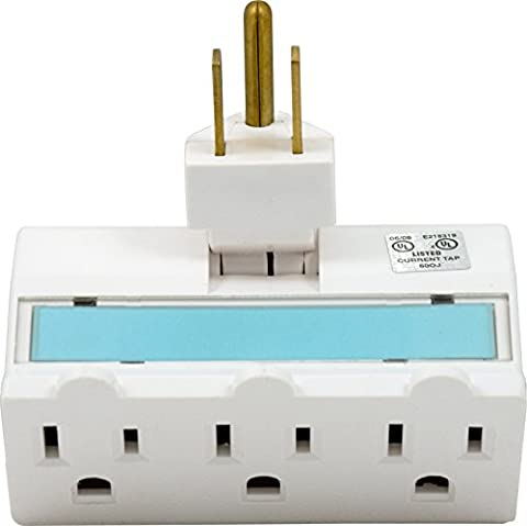 GE 14442 Three-Outlet Polarized Grounded Swivel Power Tap Night Light, White with Soft Blue Glow (Tap Blue)