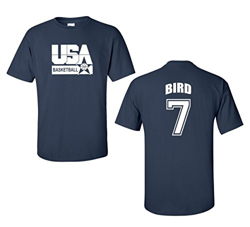 Jacted Up Tees Retro USA Men's Basketball Bird # 7 Front & Back Men's T-Shirt SHIPS FROM OHIO USA