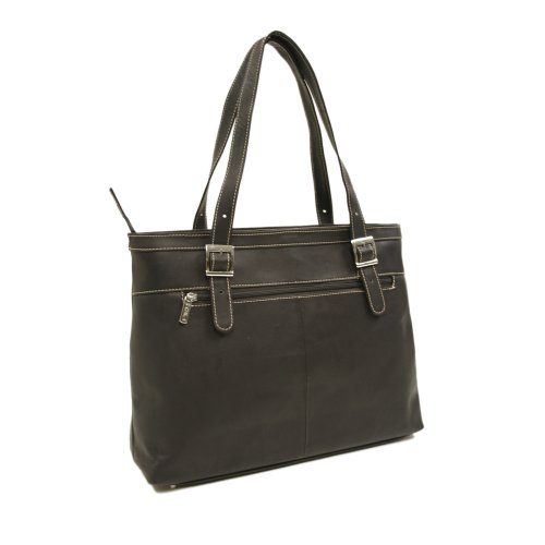 Piel Leather Ladies Laptop Tote, Chocolate, One (Laptop Tote Chocolate)