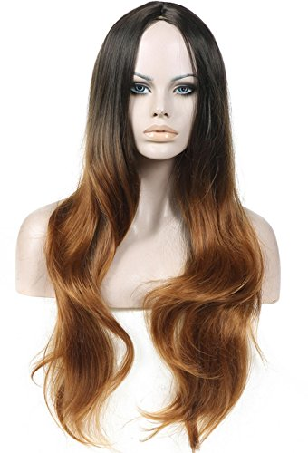 Costumes Dumber Female And Dumb (2017 Trendy Long Water Wavy Gradient Black+Brown Fashion Wig for Women with Natural HairLine+a Free Wig Cap , picture)