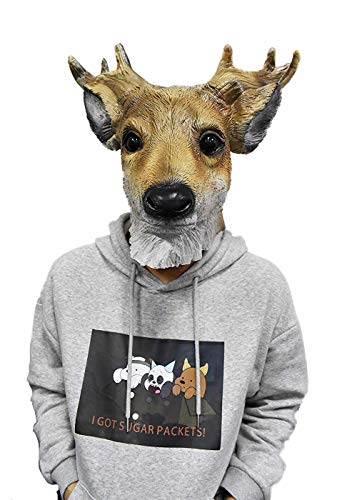 Reindeer Mask Deer Animal Head Face Disguise Halloween Costume for Adult Brown]()