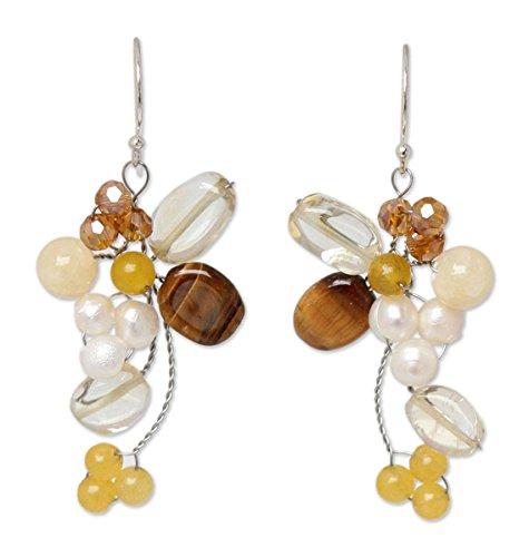 NOVICA Multi-Gem Citrine Cultured Freshwater Pearl Silver Glass Beaded Earrings 'Radiant Bouquet'