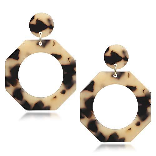 (Octagon Fashion Drop Earrings for Women Acrylic Resin Hoop Earrings Geometry Dangles Bohemian Statement)