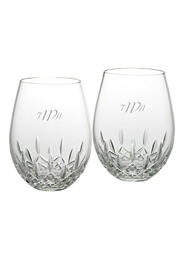 Waterford Lismore Nouveau Stemless Deep Red Wine Personalized Engraved Glasses Set of 2 (Personalized Frosted) (Wine Personalized Glasses Red)