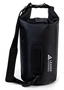 Leader Accessories New Heavy Duty Vinyl Waterproof 5L Black Dry Bag for Boating Kayaking Fishing Rafting Swimming Floating and Camping