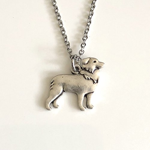 Border Collie Dog Necklace - Herding Dog Pendant on Stainless Steel Chain - Dog Mom (Border Collie Pups)