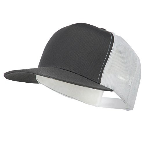 Classic 5 Panel Two Tone Mesh Trucker Snapback Cap - Charcoal White (Two Tone 5 Panel)