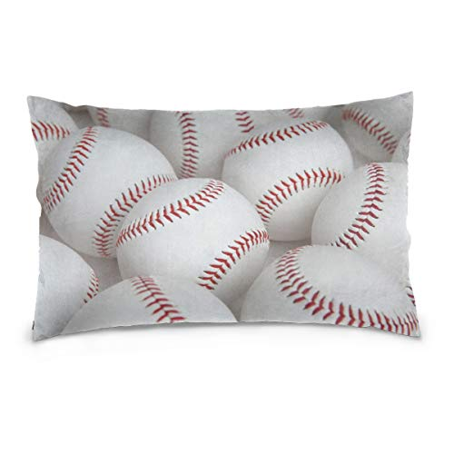 YKNFIS Pillowcases Baseball Typography Emblems, Sports Logos, 100% Cotton Reversible Hidden Zipper Standard Size (20