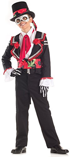 [Big Boys' Day Of The Dead Costume Large (12-14)] (Dia De Los Muertos Mariachi Costume)