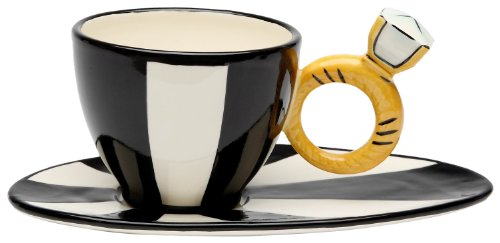 Appletree Design Black and White Cup and Saucer Featuring Ring Holder, 3-1/4-Inch, 8-1/8-Inch Long