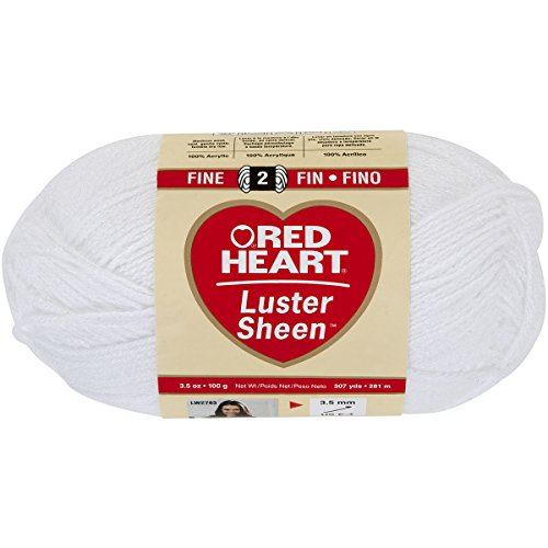 Coats Yarn Red Heart Luster Sheen Yarn, White