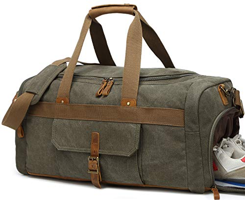 Weekender Overnight Duffel Bag Shoe Pocket for Women Men Weekend Travel Tote Carry On Bag (Army ()
