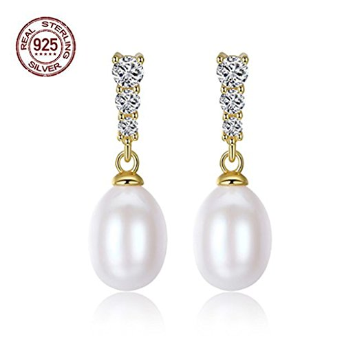 Love Chinese Symbol Earrings - Pearl Earrings Dangle Drop Freshwater Studs, Sterling Silver Pearl Earrings Handpicked aaa+ for Elegant Women Girls Bridal,Wedding and Mothers Day Gift (White)