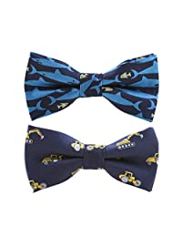 STOBOK Kids Bow Ties Cartoon Printed Polyester Bowtie Adjustable Bowties for Little Boys,Pack of 2