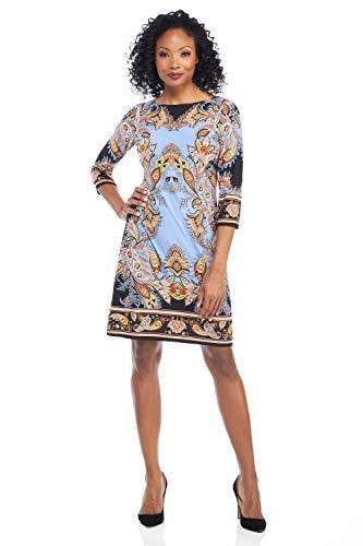 (London Times Women's Petite 3/4 Sleeve Boat Neck Matte Jersey Shift Dress, Black/Blue, 10P)