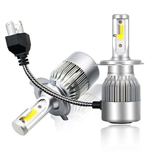 LED Headlight Bulbs Headlight bulb H4 All-in-One Conversion Kit Led headlights H7 H8 H9 H11 9005 9006 with COB Chips 8000 Lm 6500K Cool White Beam Bulbs IP68 Waterproof,