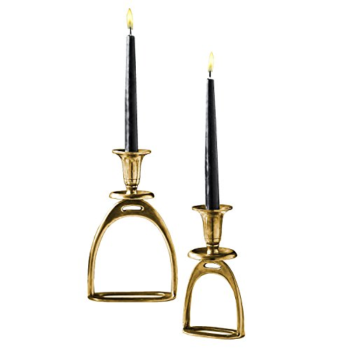 Two's Company Set of 2 Antique Gold Candle Holders