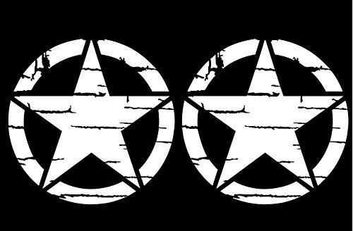 ARMY Star Distressed Decal 2-PACK Jeep Vinyl Stickers Auto Car Window Veteran (Star Decals For Cars)